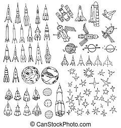 ensemble, navette, éléments, fusées, interstellaire, ...