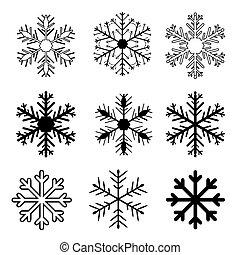 ensemble, neige, fond, vecteur, flocons, blanc