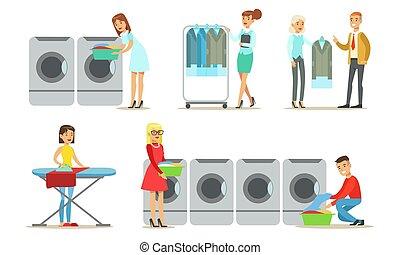 ensemble, nettoyage, gens, utilisation, professionnel, textile, service, sec, illustration, vecteur, habillement