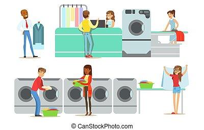 ensemble, nettoyage, gens, utilisation, professionnel, textile, service, sec, illustration, vecteur, habillement, lessive
