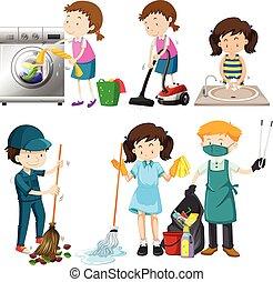 ensemble, nettoyage, gens
