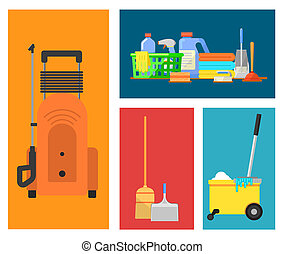 ensemble, nettoyage, icônes