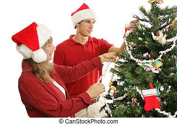 ensemble, noël, décorer, arbre
