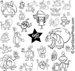 ensemble, noël, dessin animé