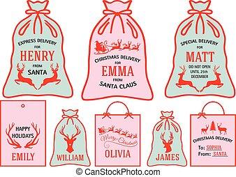 ensemble, noël, vecteur, sacs, étiquettes, étiquettes