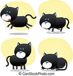 ensemble, noir, dessin animé, chat