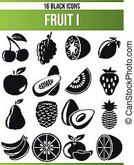 ensemble, noir, fruit, icône