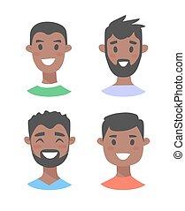 ensemble, noir, jeune, caractères, mâle