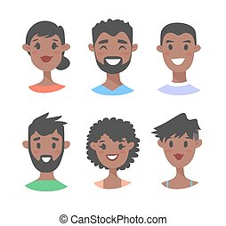 ensemble, noir, jeune, femme, mâle