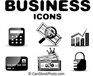 ensemble, noir, lustré, business, icône