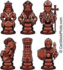 ensemble, noir, morceaux échecs