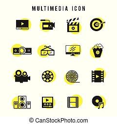 ensemble, noir, multimédia, jaune, icône