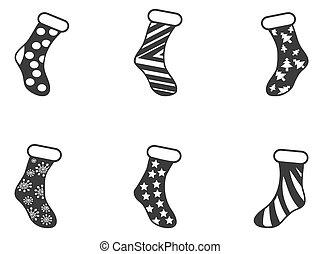 ensemble, noir, noël, chaussettes, icône