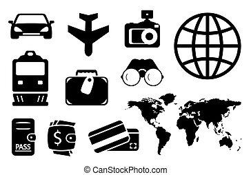 ensemble, noir, objets, business, voyager