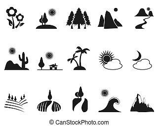 ensemble, noir, paysage, icônes