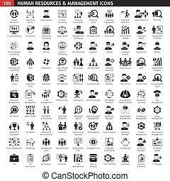 ensemble, noir, ressources humaines, icônes