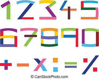 ensemble, nombre, coloré
