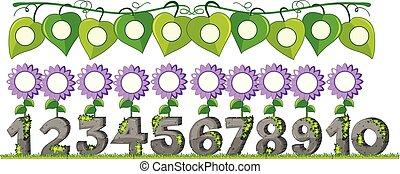 ensemble, nombre, fleur