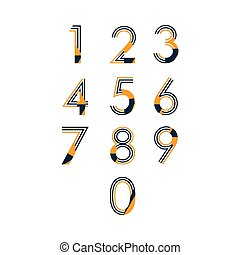 ensemble, nombre, illustration, vecteur, conception, gabarit