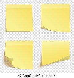 ensemble, notes, isolé, jaune, collant, fond, vecteur, carrée, illustration, transparent