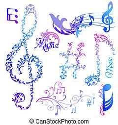 ensemble, notes, -, vecteur, musical, éléments