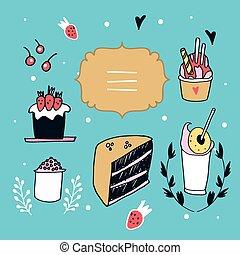 ensemble, nourriture, étiquette, élément, desserts, conception, délicieux, main, dessiné, agréable