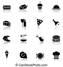 ensemble, nourriture, 1, partie, noir, icône