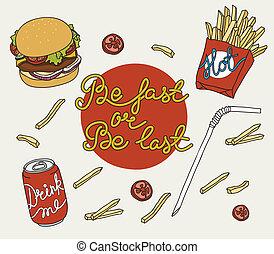 ensemble, nourriture, griffonnage, jeûne, main, dessiné