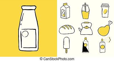ensemble, nourriture, ménage, articles, boissons, icône