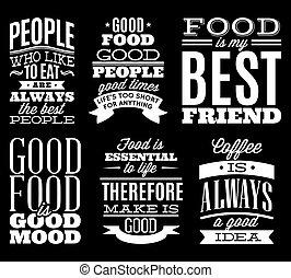 ensemble, nourriture, menu, t-shift, typographique, citations, vendange, ou