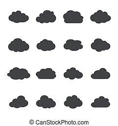 ensemble, nuage, icônes