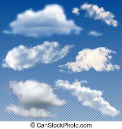 ensemble, nuages, -, isolé, illustration, réaliste, vecteur, fond, transparent