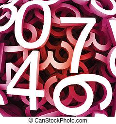 ensemble, numbers., vecteur, fond, numérique, rouges