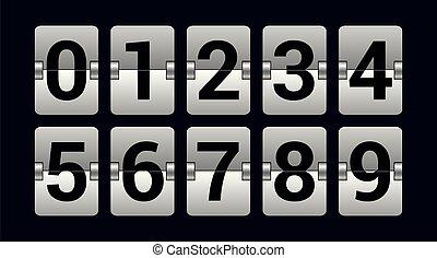 ensemble, -, objet, scoreboard, isolé, réaliste, vecteur, nombres