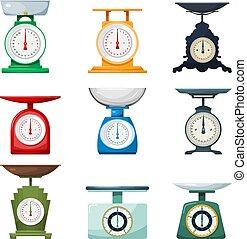 ensemble, objets, balances, grand, isolé, illustration, vecteur, retro, fond, vendange, maison, blanc
