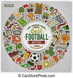 ensemble, objets, griffonnage, football, dessin animé, vecteur, recueilli, frontière, rond