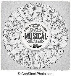 ensemble, objets, griffonnage, musical, vecteur, recueilli, frontière, dessin animé, rond