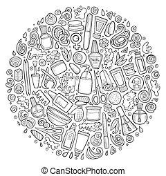 ensemble, objets, griffonnage, vecteur, manucure, dessin animé
