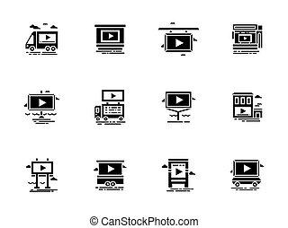 ensemble, objets, icônes, vecteur, vidéo, annonce, glyph