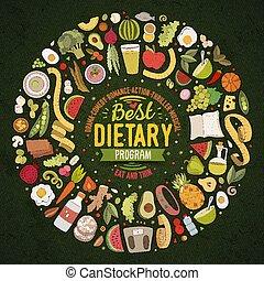 ensemble, objets, nourriture, griffonnage, régime, dessin animé, vecteur, recueilli, frontière, rond