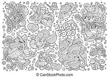 ensemble, objets, nourriture, griffonnage, vecteur, japon