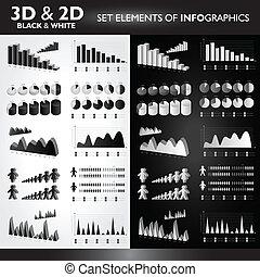 ensemble, od, 2d, black&white, infographics, éléments, 3d