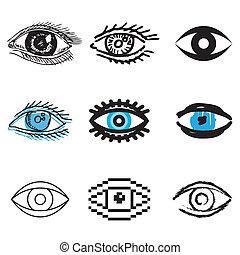 ensemble, oeil, humain, icônes