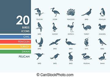 ensemble, Oiseaux, icônes