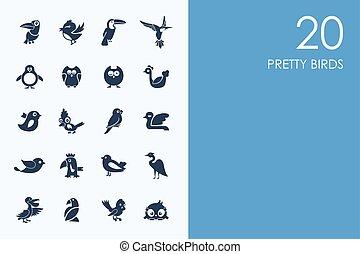 ensemble, Oiseaux, joli, icônes