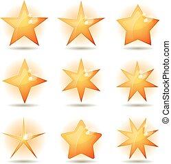 ensemble, or, étoiles, icônes