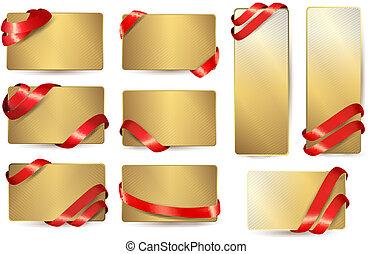 ensemble, or, business, vecteur, ribbons., cartes, rouges, illustration.