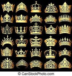 ensemble, or, illustration, noir, couronnes, fond