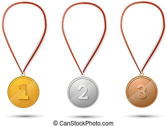 ensemble, or, médailles, blanc, argent, bronze