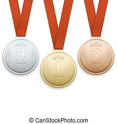 ensemble, or, vecteur, médailles, argent, bronze
